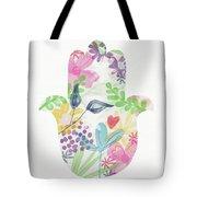 Watercolor Garden Hamsa- Art By Linda Woods Tote Bag
