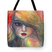 Watercolor Girl Portrait With Flower Tote Bag