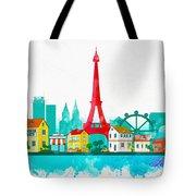 Watercolor Illustration Of Paris Tote Bag