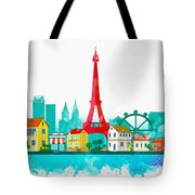 Watercolor Illustration Of Paris Tote Bag
