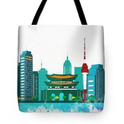 Watercolor Illustration Of Seoul Tote Bag