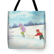 Watercolor Illustration Showing Two Children Pulling Sledge Uphi Tote Bag