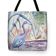 Watercolor - Little Blue Heron In Mangrove Forest Tote Bag
