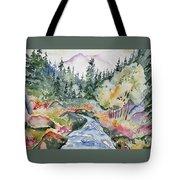 Watercolor - Long's Peak Autumn Landscape Tote Bag