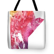 Watercolor Map Of Manitoba, Canada In Orange, Red And Purple  Tote Bag