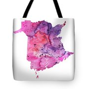 Watercolor Map Of New Brunswick, Canada In Pink And Purple  Tote Bag
