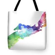 Watercolor Map Of Nova Scotia, Canada In Rainbow Colors  Tote Bag