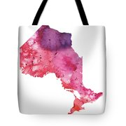 Watercolor Map Of Ontario, Canada In Orange, Red And Purple  Tote Bag