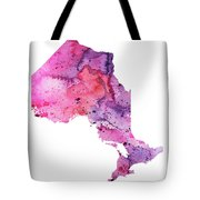 Watercolor Map Of Ontario, Canada In Pink And Purple  Tote Bag