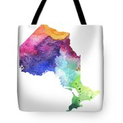 Watercolor Map Of Ontario, Canada In Rainbow Colors  Tote Bag