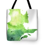 Watercolor Map Of Quebec, Canada In Green  Tote Bag