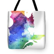 Watercolor Map Of Quebec, Canada In Rainbow Colors  Tote Bag