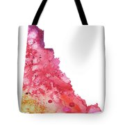 Watercolor Map Of Yukon, Canada In Orange, Red And Purple  Tote Bag