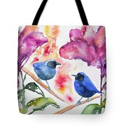 Watercolor - Masked Flowerpiercers With Flowers Tote Bag