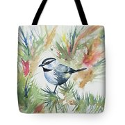 Watercolor - Mountain Chickadee And Pine Tote Bag