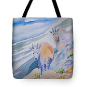 Watercolor - Mountain Goats On Quandary Tote Bag