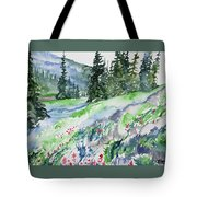 Watercolor - Mountain Pines And Indian Paintbrush Tote Bag