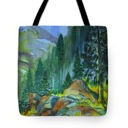 Watercolor Of Mountain Forest Tote Bag
