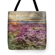 Watercolor Painting Of Beautiful Dawn Sunrise Landscape Image Of Heather On Higger Tor In Summer In  Tote Bag