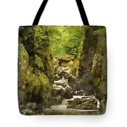 Watercolor Painting Of Beautiful Ethereal Landscape Of Deep Sided Gorge With Rock Walls And Stream F Tote Bag