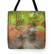 Watercolor Painting Of Beautiful Landscape Image Of Forest Covered In Autumn Fall Color Contrasting  Tote Bag