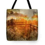 Watercolor Painting Of Beautiful Sunrise Landscape Over Foggy English Countryside With Glowing Sun Tote Bag