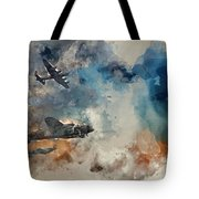 Watercolor Painting Of Flight Formation Of Battle Of Britain World War Two Consisting Of Lancaster B Tote Bag