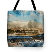 Watercolor Painting Of Fresh Winter Landscape Of Mountain Range And Forest Covered In Snow Tote Bag