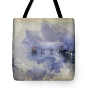Watercolor Painting Of Landscape Of Victorian Pier With Moody Sk Tote Bag