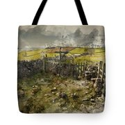 Watercolor Painting Of Public Footpath Signposts In Landscape In Tote Bag