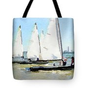 Watercolor Painting Of Small Dinghy Boats Tote Bag