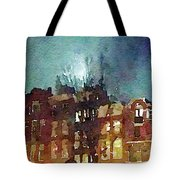 Watercolor Painting Of Spooky Houses At Night Tote Bag