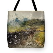 Watercolor Painting Of Stunning Landscape Of Chrome Hill And Parkhouse Hill Dragon's Back In Peak Di Tote Bag