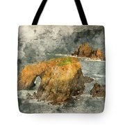 Watercolor Painting Of Stunning Sunrise Landscape Of Land's End In Cornwall England Tote Bag