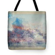 Watercolor Painting Of Stunning Sunset Cloud Formation Over Calm Sea Landscape Tote Bag