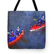 Watercolor Painting Of Two Canoes Tote Bag