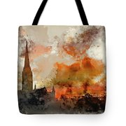 Watercolor Painting Of Winter Frosty Sunrise Landscape Salisbury Tote Bag