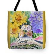 Watercolor - Pika With Wildflowers Tote Bag by Cascade Colors