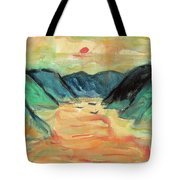 Watercolor River Scenery Tote Bag