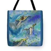 Watercolor - Sea Turtles Swimming Tote Bag