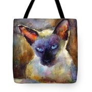Watercolor Siamese Cat Painting Tote Bag by Svetlana Novikova