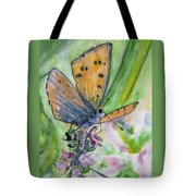 Watercolor - Small Butterfly On A Flower Tote Bag