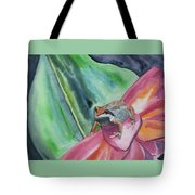 Watercolor - Small Tree Frog On A Colorful Flower Tote Bag