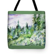 Watercolor - Summer In The Rockies Tote Bag