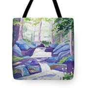 Watercolor - Summer Mountain Forest And Stream Tote Bag