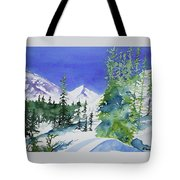 Watercolor - Sunny Winter Day In The Mountains Tote Bag by Cascade Colors