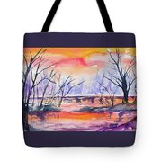 Watercolor - Sunrise At The Pond Tote Bag