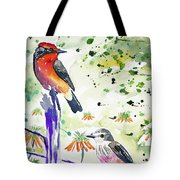 Watercolor - Vermilion Flycatcher Pair In Quito Tote Bag