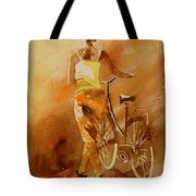 Watercolor With My Bike Tote Bag by Pol Ledent