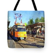 Watercolour Painting Of A Tram In Germany Tote Bag